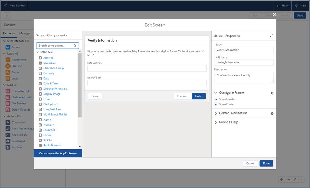 Flow Builder ツールを使用してフローを構築します。