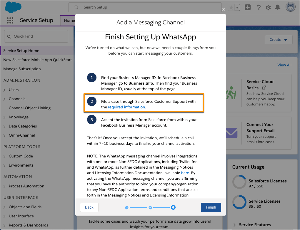 Message to file a case with Salesforce Customer Support highlighted in the Add a Messaging Channel dialog box.