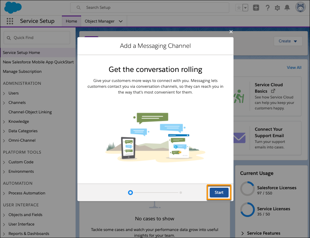 The Start button highlighted in the Add a Message Channel dialog box.