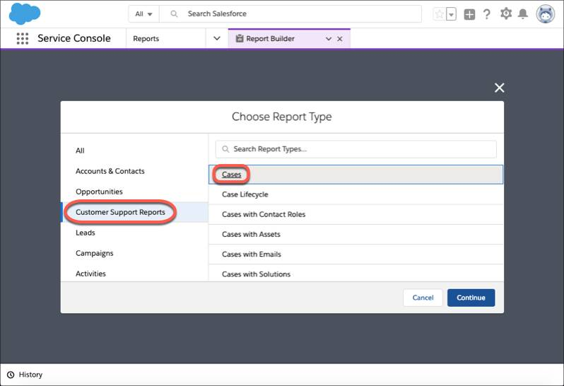 The Choose Report Type dialog box with Customer Support Reports and Cases highlighted.