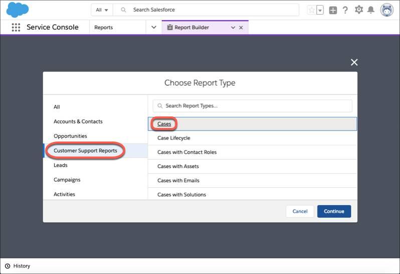 Das Dialogfeld 'Berichtstyp wählen' mit Hervorhebung von 'Kundensupportberichte' und 'Kundenvorgänge'.