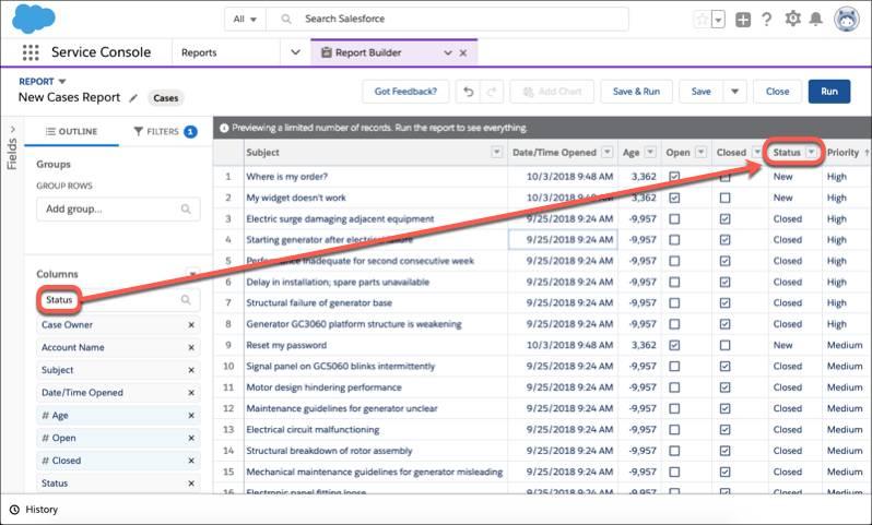 Eine Berichtsvorschau mit Hervorhebung der Berichtsspalte 'Status' und des Filters 'Status'.