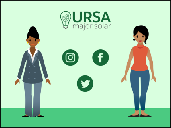 Sita and Maria standing alongside the Ursa Major Solar logo.