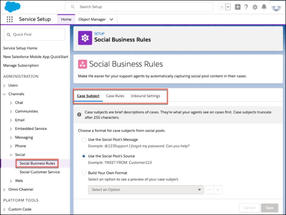 Service Setup home with Social Business Rules highlighted alongside social service settings.