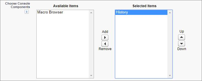 The Choose Console Components field on a console app edit page in Salesforce Classic.