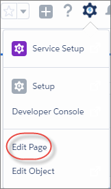 The Edit Page link highlighted in the Setup menu of Lightning Experience.