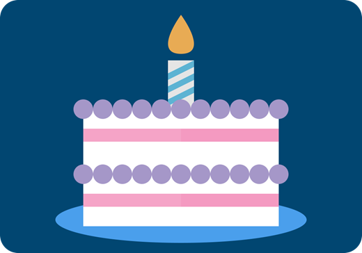 A graphic of a birthday cake.