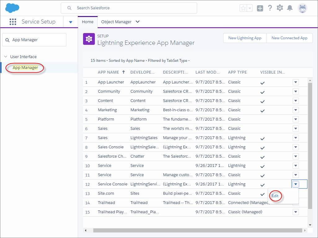 The App Manager page in Setup in Lightning Experience with the Edit button highlighted next to a Service Console app.