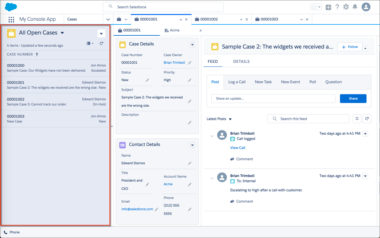 A Service Console in Lightning Experience with the split view displaying a list of cases on the left of the screen.