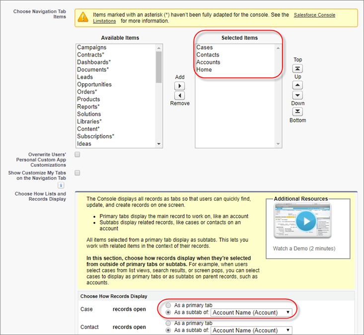 Salesforce Classic のコンソールアプリケーションの編集ページ。[ナビゲーションタブ項目を選択] の中の項目が強調表示されています。