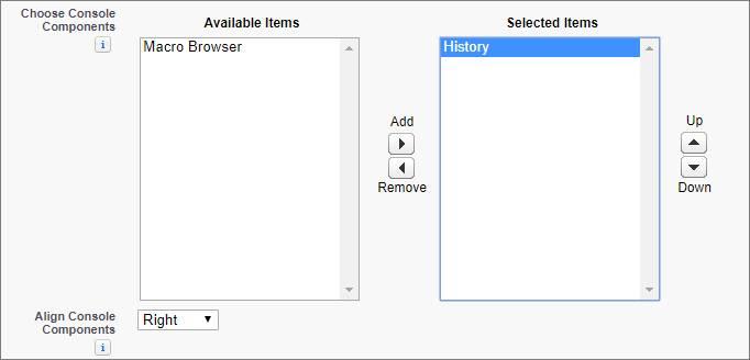 Salesforce Classic のコンソールアプリケーションの編集ページ。[コンソールコンポーネントを選択] 項目の [ソフトフォン] が強調表示されています。