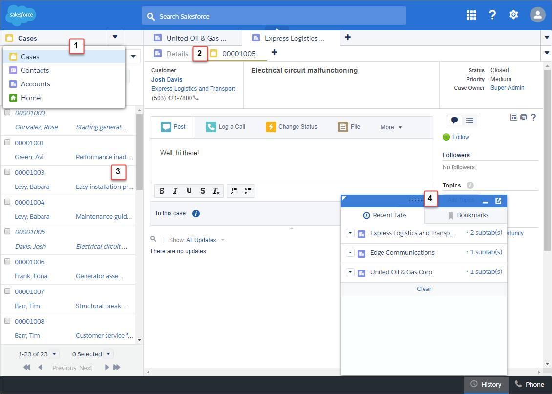 Salesforce Classic のコンソール。ナビゲーションタブにケース、取引先、取引先責任者、ホームが表示され、ケースが取引先のサブタブとして開き、続いて画面の左側にリストが固定表示され、フッターには履歴コンポーネントが示されています。