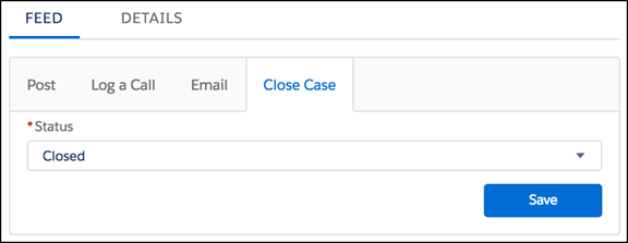 A Close Case publisher action on case feed in Lightning Experience.