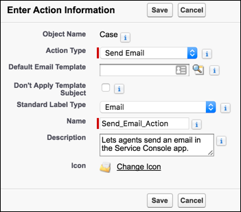 The New Action page in Setup with Send Email selected as the Action Type and Email selected as the Standard Label Type.