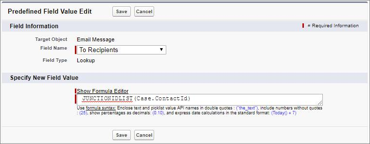 JUNCTIONIDLIST(Case.ContactId) in the Formula field on the Predefined Field Value for Email page on the Case object in the Object Manager.