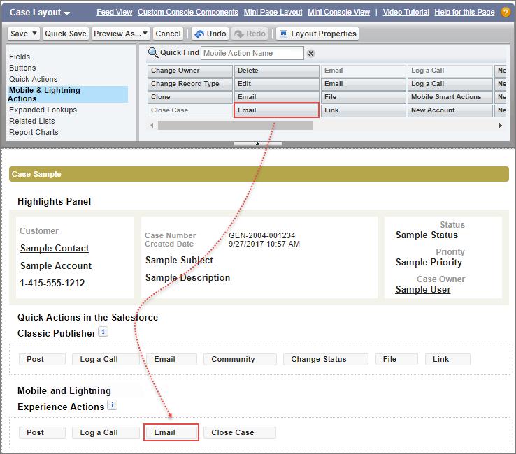 [モバイルおよび Lightning のアクション] セクションからページレイアウト自体へ、ケースページレイアウトの [メールを送信] パブリッシャーアクションをドラッグします。