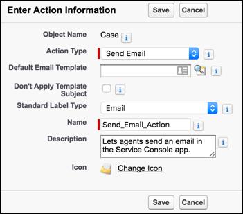 [設定] の [新規アクション] ページ。[アクション種別] に [メールを送信]、[標準の表示ラベル種別] に [メール] が選択されています。