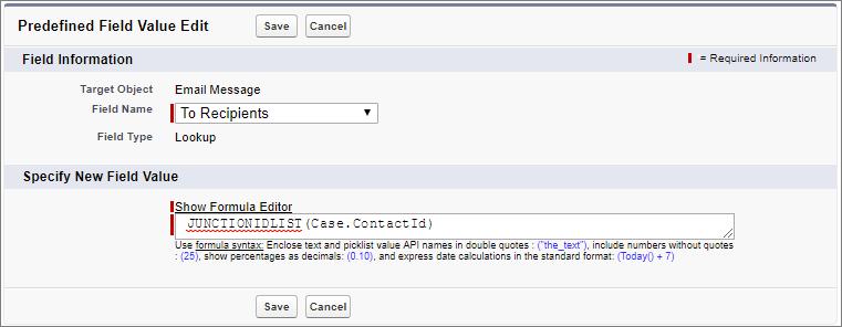 [オブジェクトマネージャ] のケースオブジェクトにある [メール] ページ。[定義済み項目値] の数式項目に「JUNCTIONIDLIST(Case.ContactId)」と入力されています。