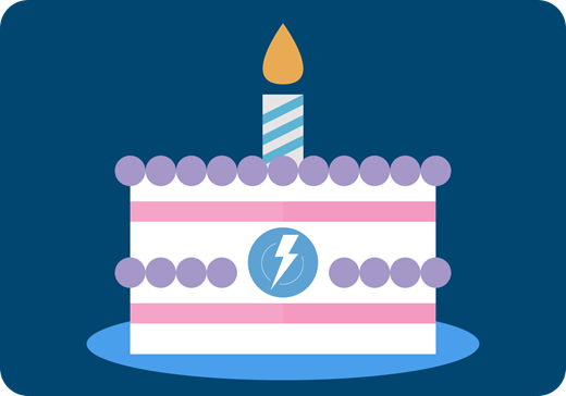 A graphic of a birthday cake with the Lightning Experience logo.