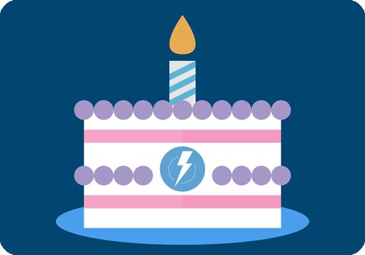 Lightning Experience のロゴが示された誕生日ケーキのグラフィック