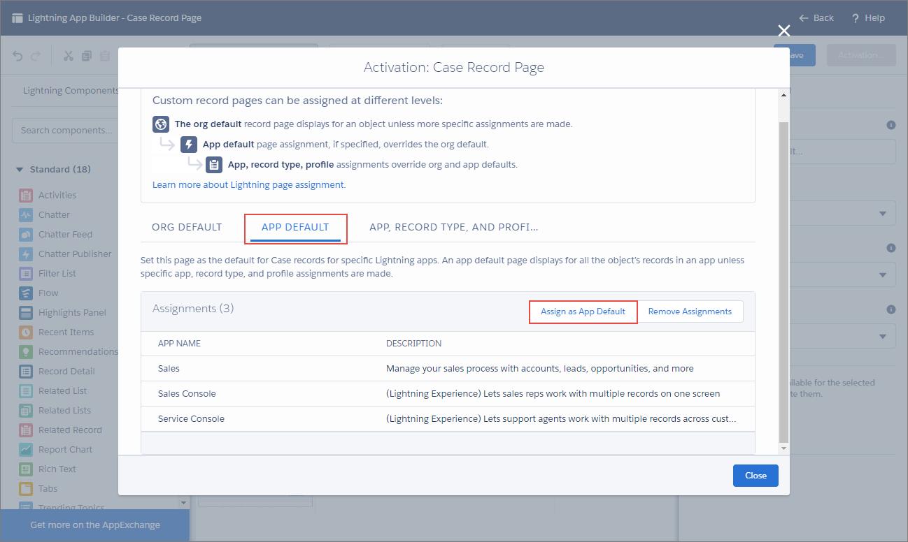 Lightning アプリケーションビルダーの [有効化] ページ。[アプリケーションのデフォルト] タブと、[アプリケーションのデフォルトとして割り当て] ボタンが強調表示されています。