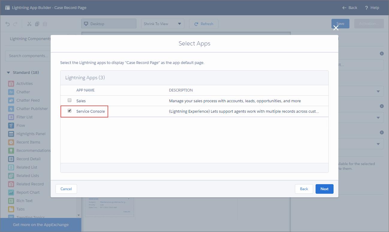 Lightning アプリケーションビルダーの [有効化] ページ。[サービスコンソール] が選択されています。