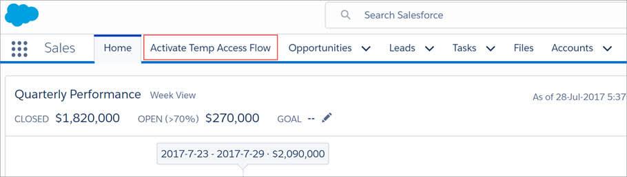 [Activate Temp Access Flow (一時アクセスフローを有効化)] タブが Sales アプリケーションに表示されます。
