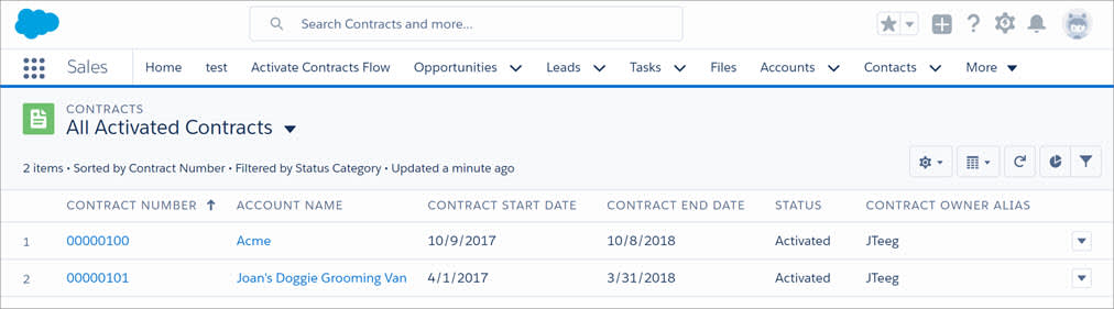 Contracts list view without the 'New' button.