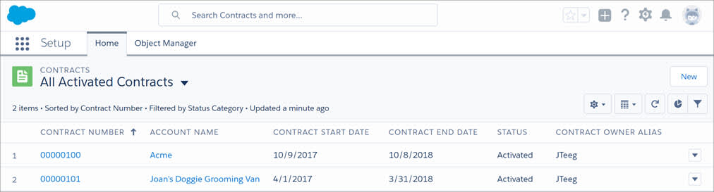 Contracts list view with the 'New' button.