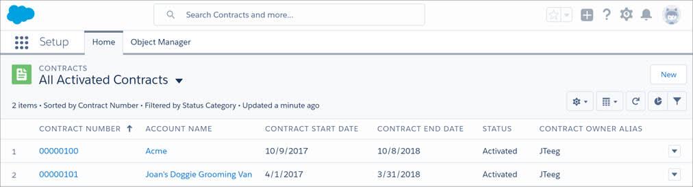 [新規] ボタンが表示されている契約リストビュー。