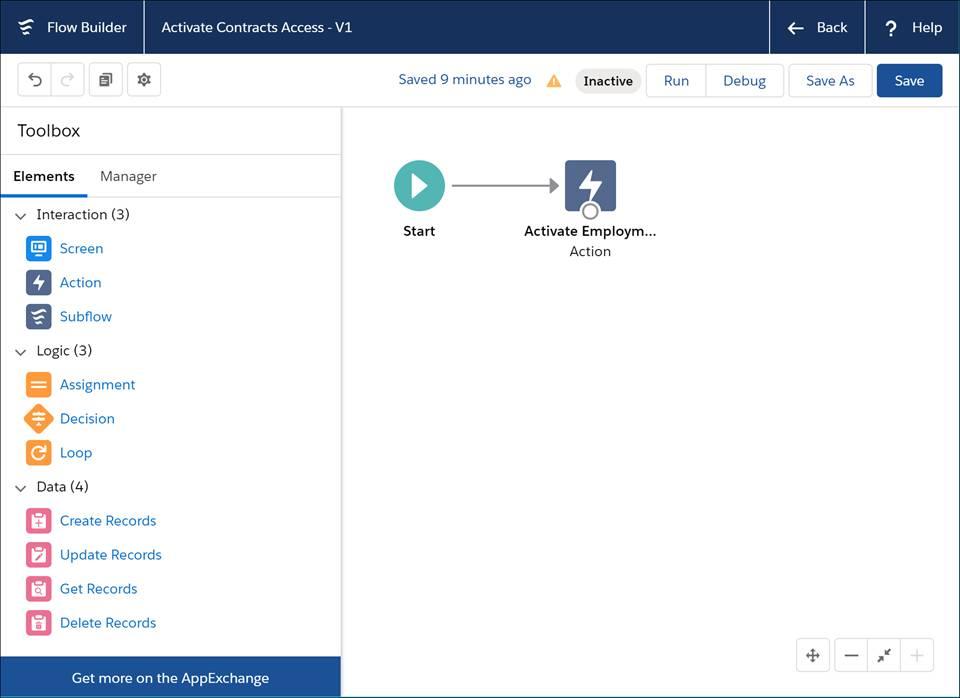 A tela do Flow Builder com uma ação para ativar um conjunto de permissões baseado em sessão.