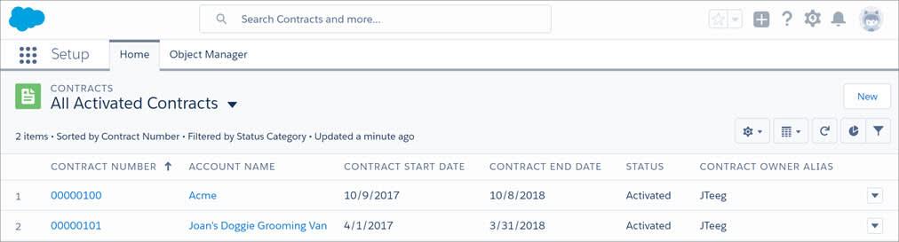 """Modo de exibição de lista de contratos com o botão """"Novo""""."""