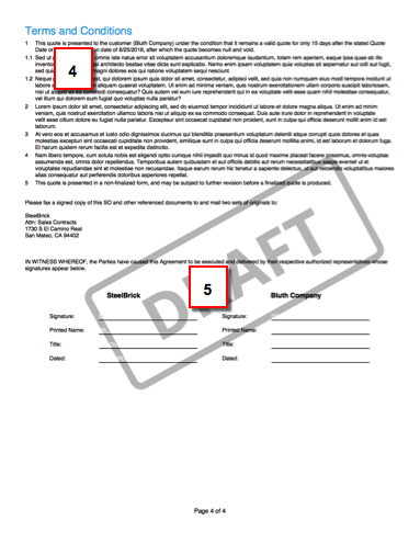 Verso de l'ébauche de proposition avec bloc de signature
