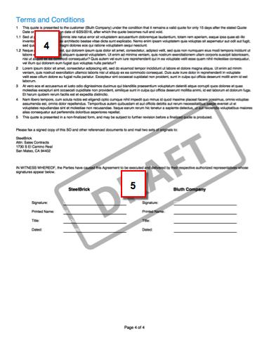 署名ブロックが含まれるドラフト提案の 2 ページ目