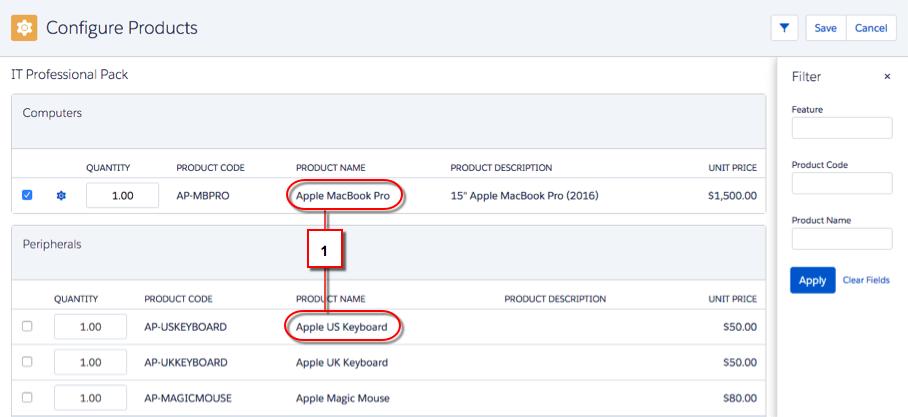 2 つの商品名が強調表示されている [商品の設定] 画面