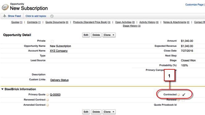 [契約済み] ボタンが選択されている新規サブスクリプション画面