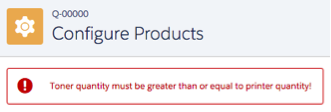 Configure Products screen with error message: Toner quantity must be greater than or equal to printer quantity!