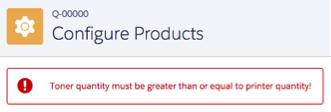 エラーメッセージ「Toner quantity must be greater than or equal to printer quantity! (トナーの数量はプリンタの数量以上にする必要があります)」が表示された [商品の設定] 画面