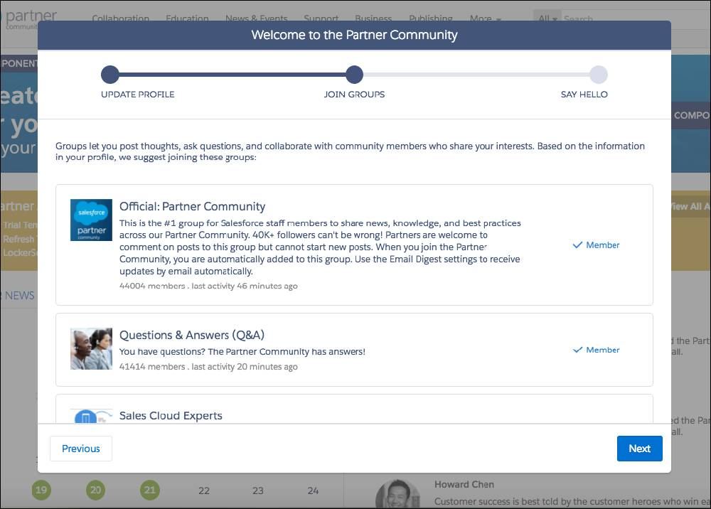 Onboarding Wizard screen 2: collaboration groups