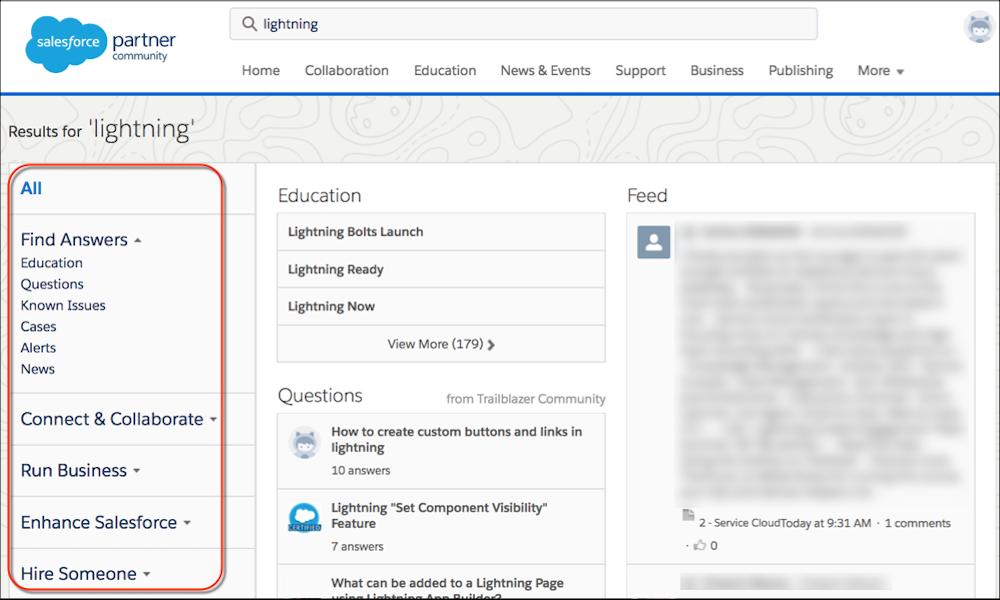 Salesforce パートナーコミュニティサイトの検索結果カテゴリ。