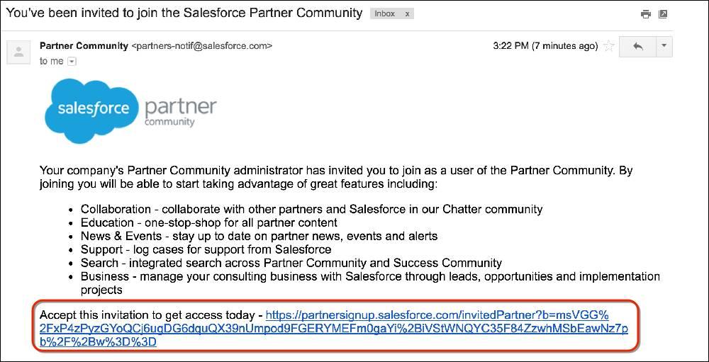 Salesforce パートナーコミュニティに招待するメールメッセージ