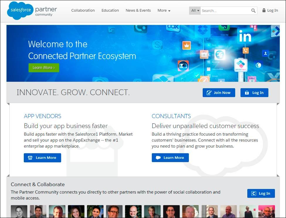 Salesforce パートナーコミュニティのランディング画面