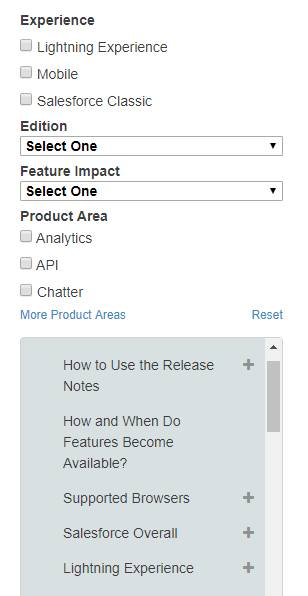Release Notes filter options include Experience, Edition, Feature Impact, Product Area, and Release Notes section.
