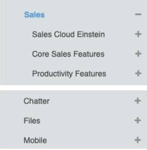 Los vínculos rápidos de las Notas de la versión están organizados por productos, como Sales Cloud Einstein o Funciones principales de ventas, y por funciones, como Chatter o Móvil.