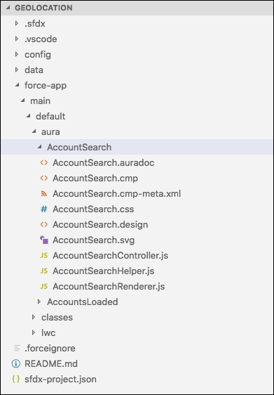 AccountSearch folder expanded to show its files in Visual Studio Code