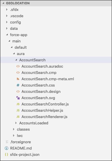 Visual Studio Code で、AccountSearch フォルダが展開され、ファイルが表示されています。