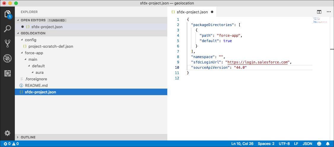 sfdx-project.json ファイルの画像