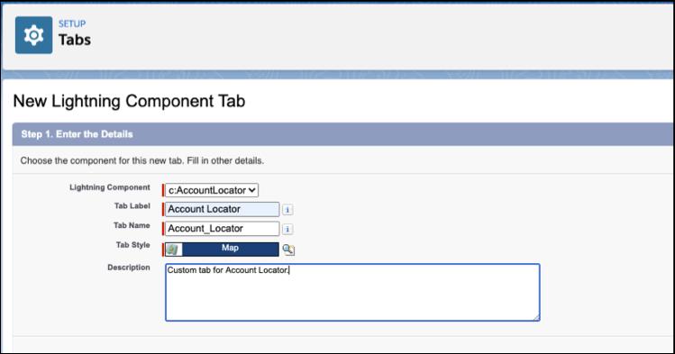 New Lightning Component tab dialog