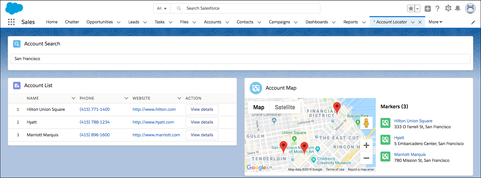 Account Locator component with Account Search, Account List, and Account Map components