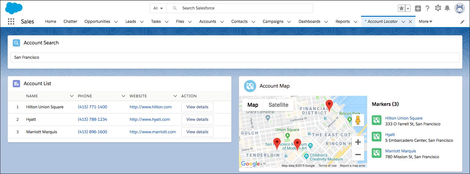 [Account Search (取引先検索)] コンポーネント、[Account List (取引先リスト)] コンポーネント、[Account Map (取引先地図)] コンポーネントを備えた [Account Locator (取引先ロケータ)] コンポーネント
